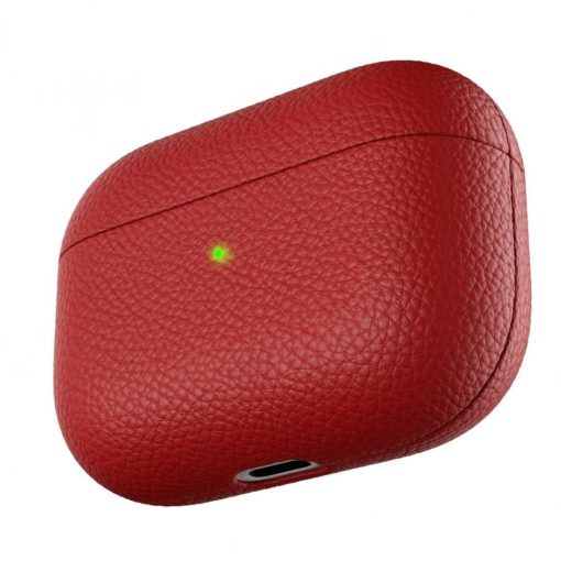 Podskinz Artisan Series Leather Case - Handcrafted Leather Case For Your Airpods Pro Red