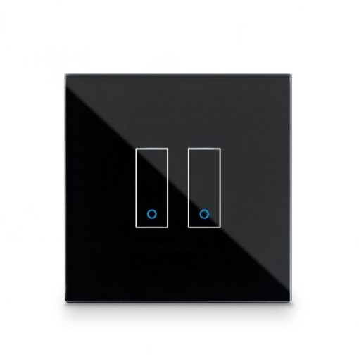 Iotty Smart Switch Double Button Faceplate - Design Your Own Smart Switch Black