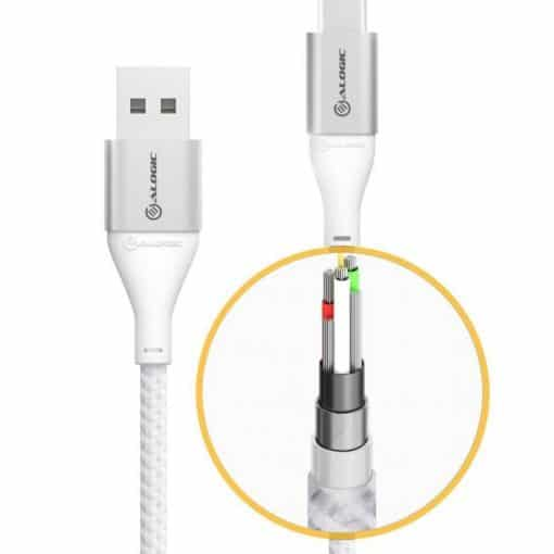 Alogic Ultra Usb-A To Usb-C Cable 3A/480Mbps - Silver 3 M