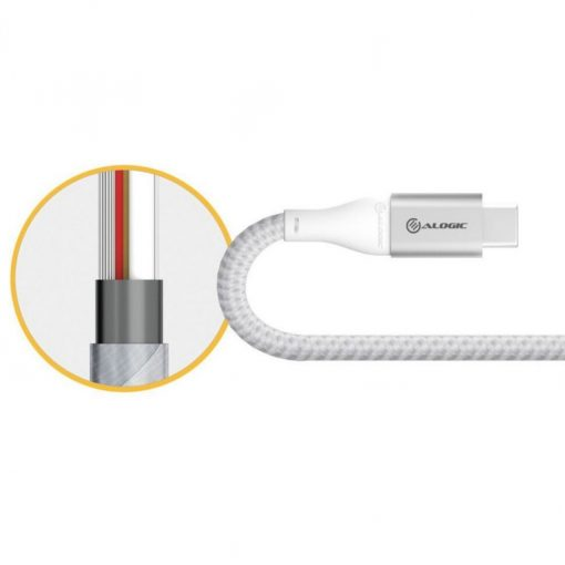 Alogic Ultra Usb-A To Usb-C Cable 3A/480Mbps - Silver 1.5 M