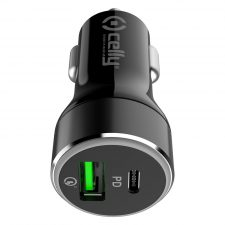 Celly Usb-C Pd + Usb-A Quick Charge 42W Car Charger, Sort