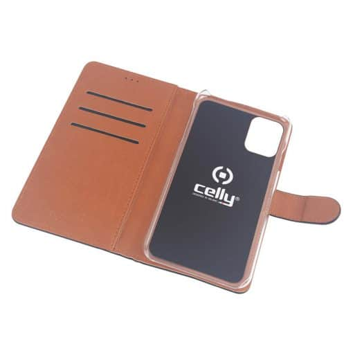 Celly Wally Iphone 12 Mini Cover, Sort/Cognac